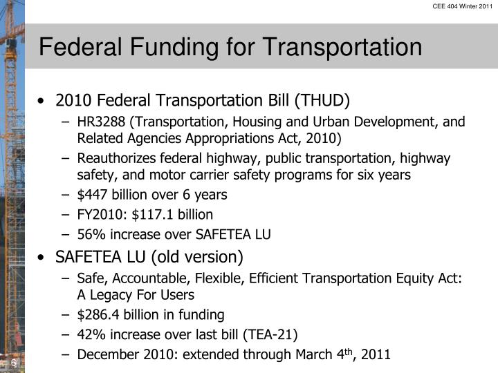 Federal Funding for Transportation