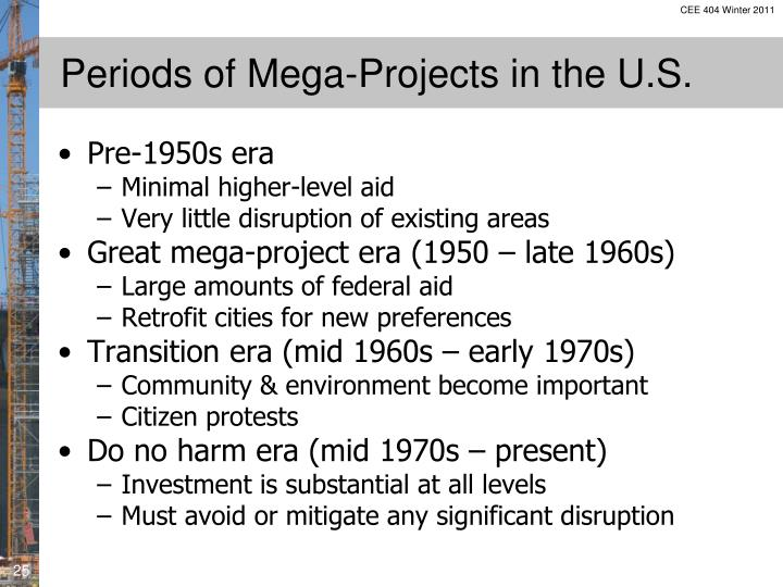 Periods of Mega-Projects in the U.S.