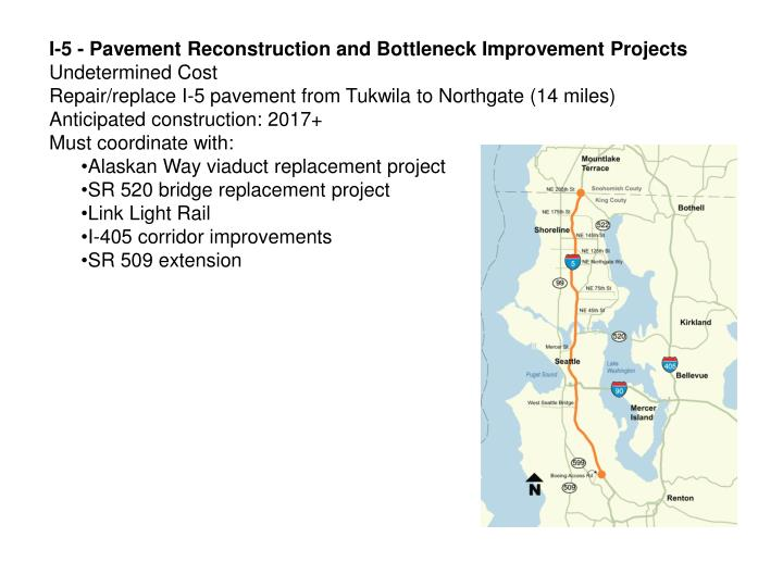 I-5 - Pavement Reconstruction and Bottleneck Improvement Projects