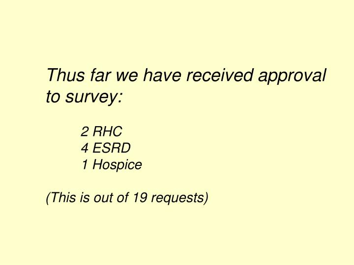 Thus far we have received approval to survey: