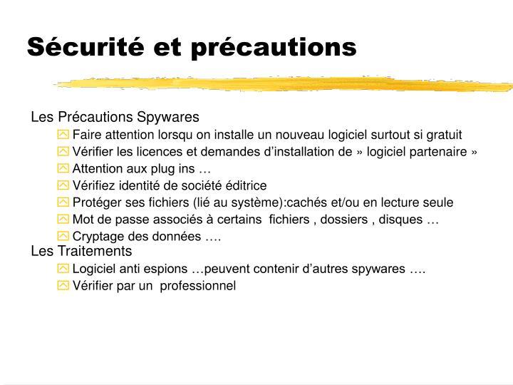 Sécurité et précautions