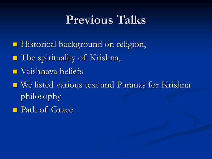 Previous Talks