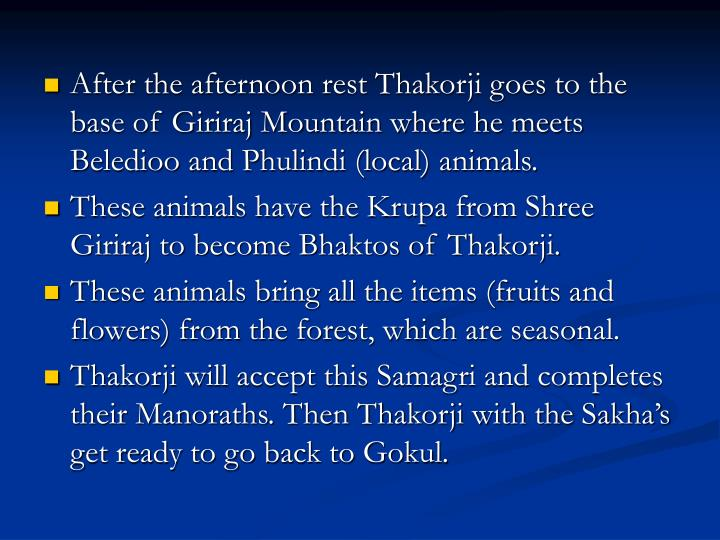After the afternoon rest Thakorji goes to the base of Giriraj Mountain where he meets Beledioo and Phulindi (local) animals.
