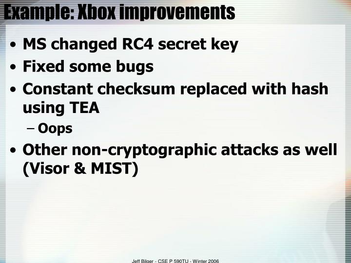Example: Xbox improvements