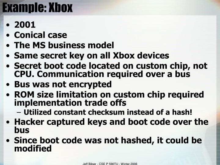 Example: Xbox