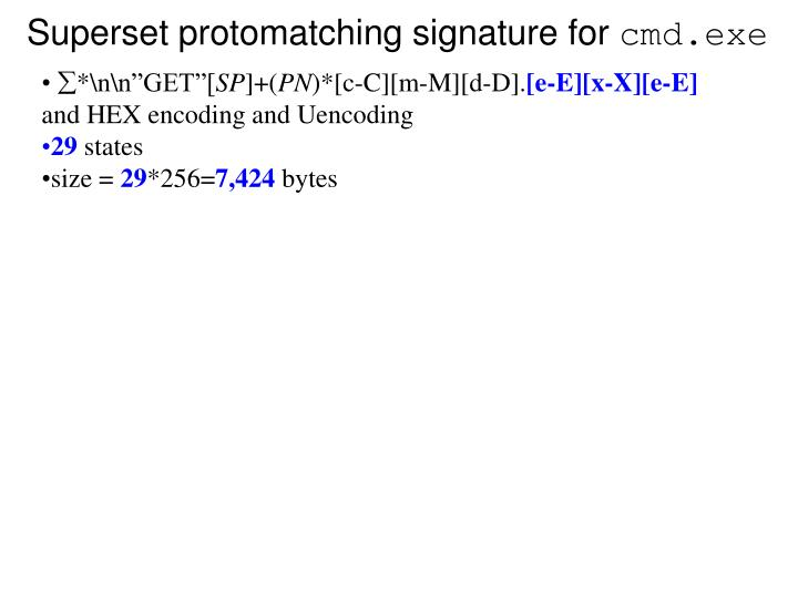 Superset protomatching signature for