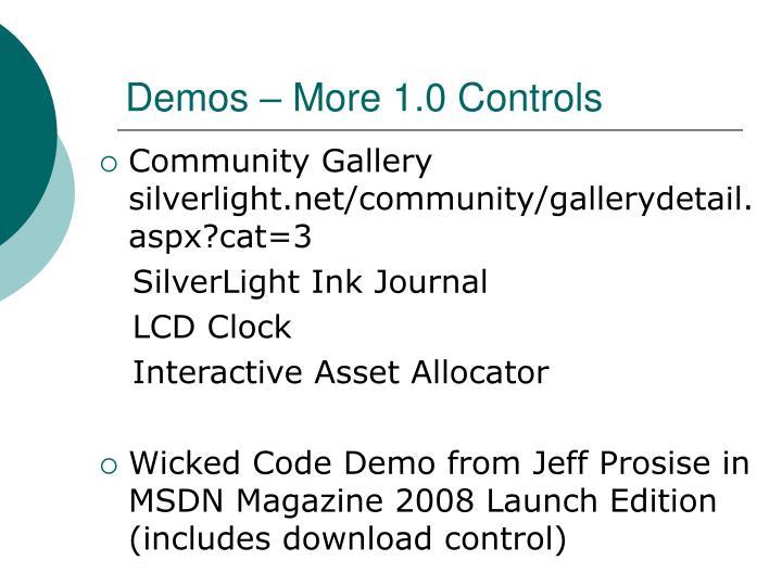 Demos – More 1.0 Controls
