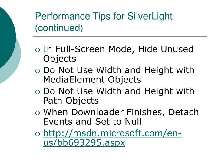 Performance Tips for SilverLight