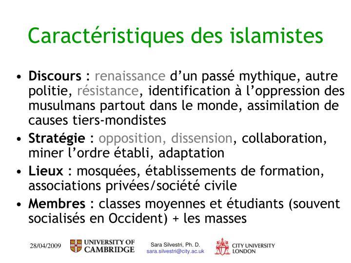 Caractéristiques des islamistes