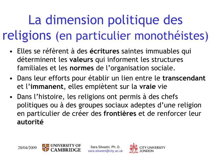 La dimension politique des religions