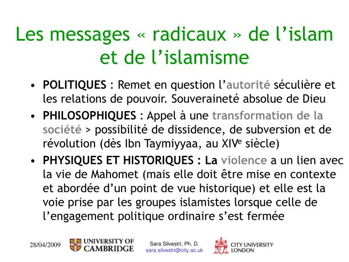 Les messages «radicaux» de l'islam et de l'islamisme