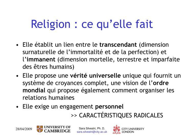 Religion : ce qu'elle fait