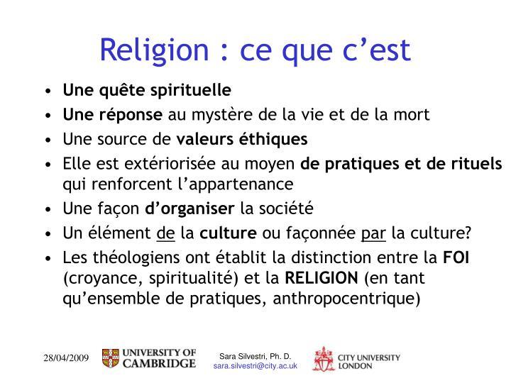Religion : ce que c'est