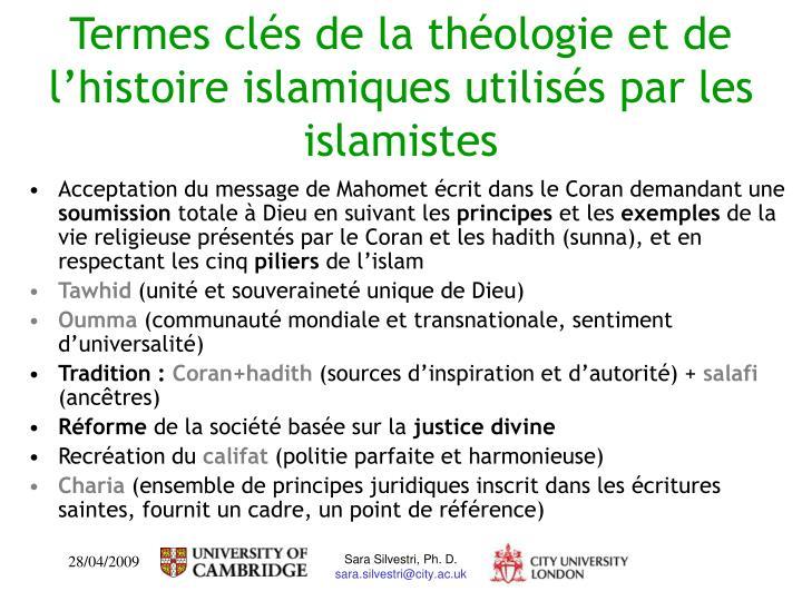 Termes clés de la théologie et de l'histoire islamiques utilisés par les islamistes