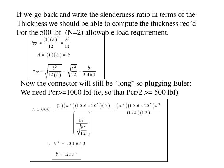 If we go back and write the slenderness ratio in terms of the