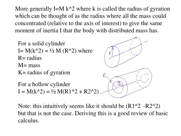 More generally I=M k^2 where k is called the radius of gyration