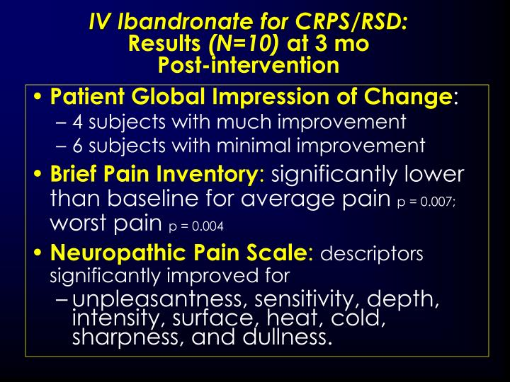 IV Ibandronate for CRPS/RSD: