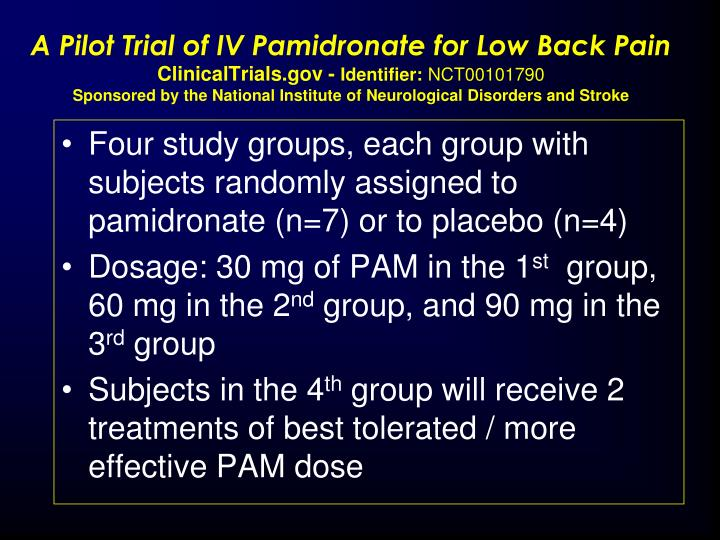 A Pilot Trial of IV Pamidronate for Low Back Pain