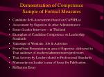 demonstration of competence sample of formal measures