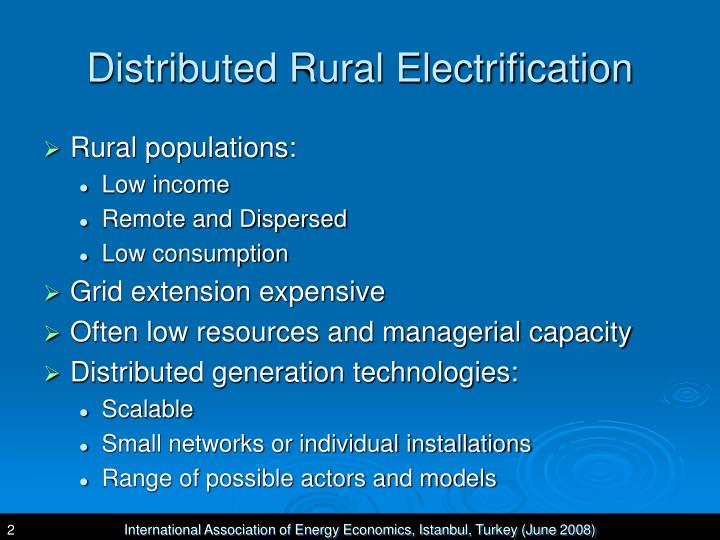 Distributed Rural Electrification