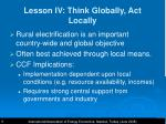 lesson iv think globally act locally