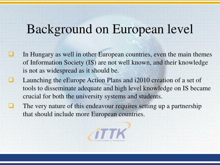 Background on European level