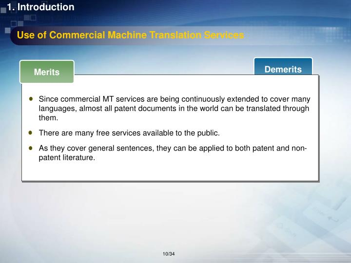 Use of Commercial Machine Translation Services