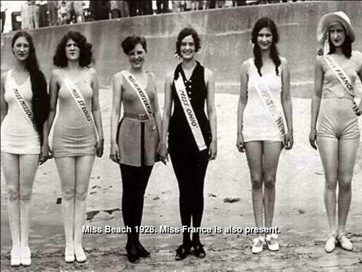 Miss Beach 1928. Miss France is also present.