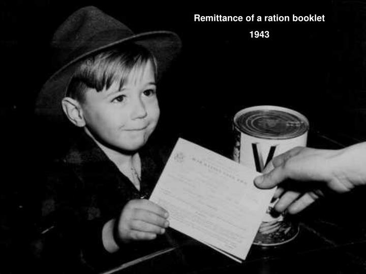 Remittance of a ration booklet