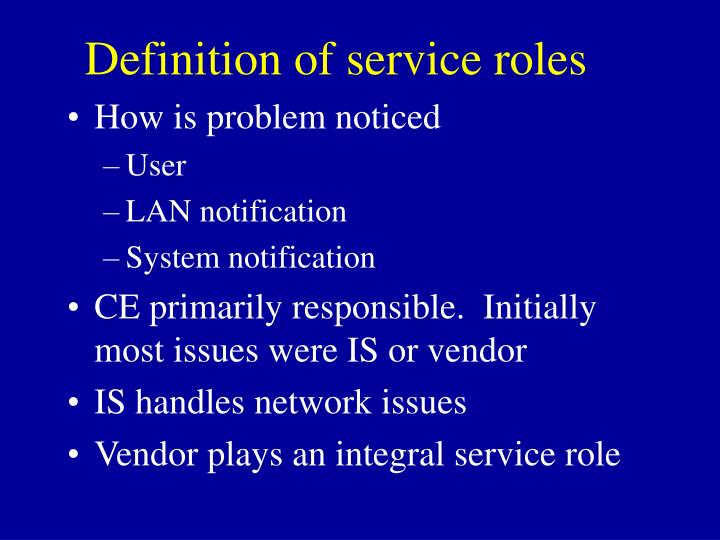 Definition of service roles