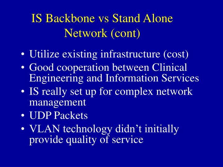 IS Backbone vs Stand Alone Network (cont)