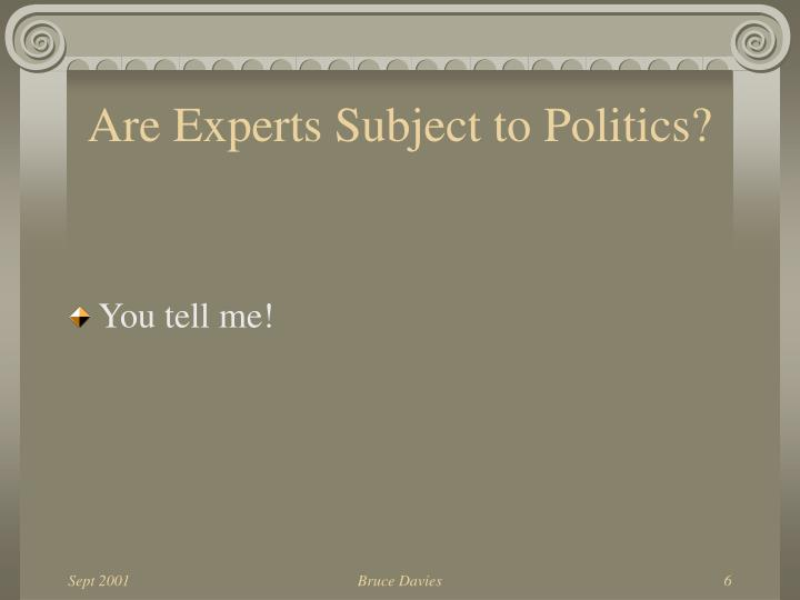 Are Experts Subject to Politics?