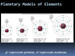 planetary models of elements