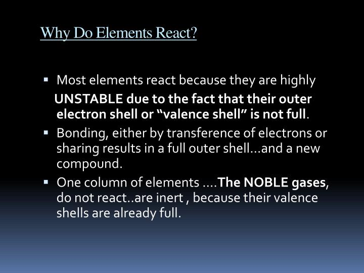 Why Do Elements React?