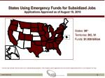 states using emergency funds for subsidized jobs applications approved as of august 19 2010