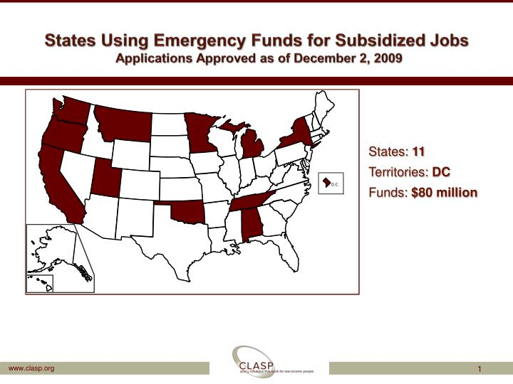 States using emergency funds for subsidized jobs applications approved as of december 2 2009