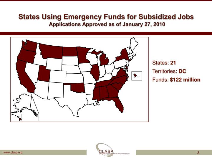 States using emergency funds for subsidized jobs applications approved as of january 27 2010