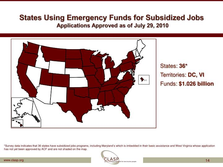 States Using Emergency Funds for Subsidized Jobs