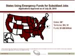 states using emergency funds for subsidized jobs applications approved as of july 29 2010