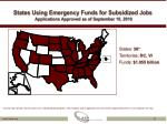 states using emergency funds for subsidized jobs applications approved as of september 10 2010