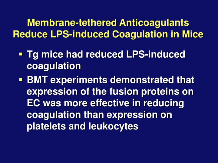 Membrane-tethered Anticoagulants Reduce LPS-induced Coagulation in Mice