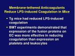 membrane tethered anticoagulants reduce lps induced coagulation in mice1
