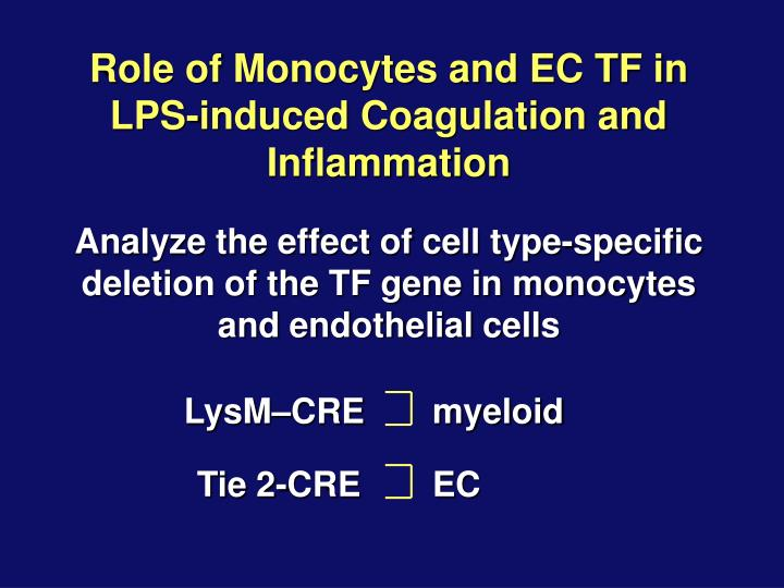 Role of Monocytes and EC TF in         LPS-induced Coagulation and Inflammation