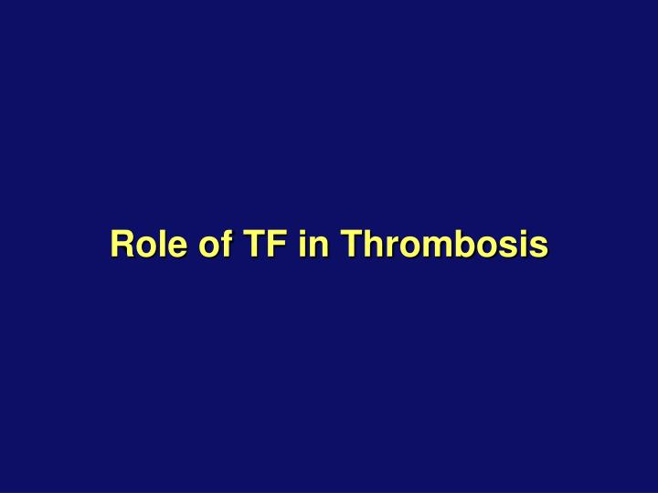 Role of TF in Thrombosis