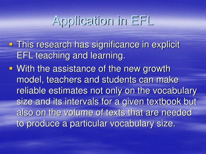 Application in EFL