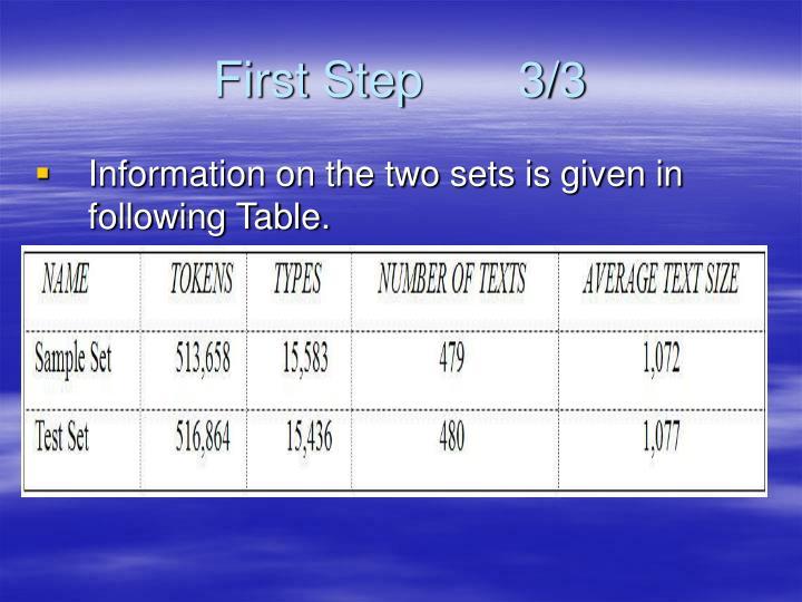 First Step       3/3