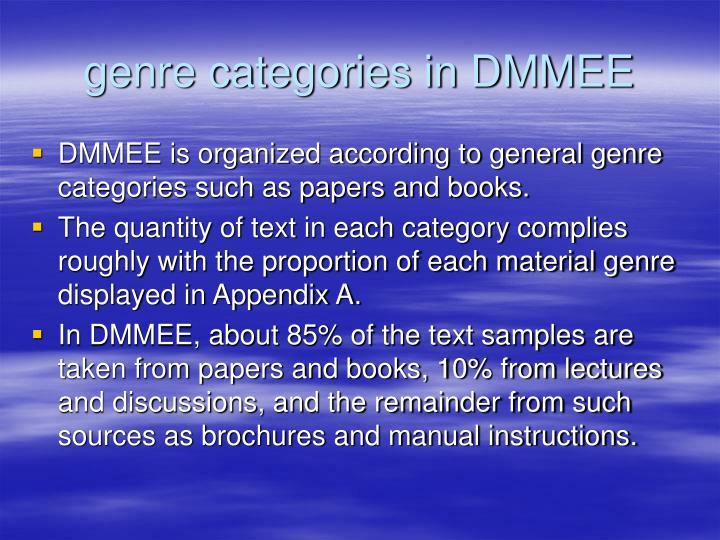 genre categories in DMMEE
