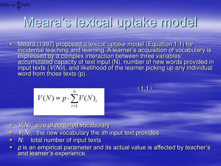 Meara's lexical uptake model