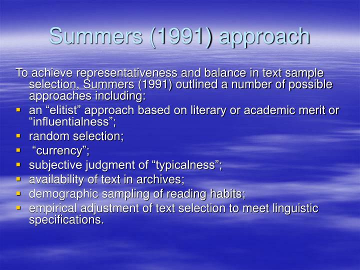 Summers (1991) approach