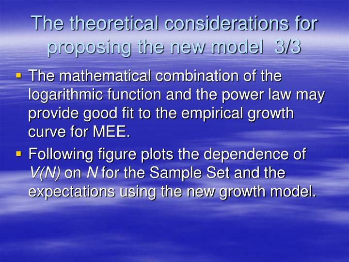 The theoretical considerations for proposing the new model  3/3